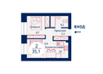 SCANDIS (Скандис), дом 9: Планировка двухкомнатной квартиры 35,1 кв.м
