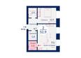 SCANDIS (Скандис), дом 6: Планировка двухкомнатной квартиры 52,9 кв.м