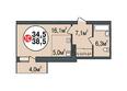 Жилой комплекс ПОКРОВСКИЙ, б/с 1, 2: Планировка однокомнатной квартиры 38,5 кв.м