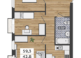 ФРАНЦУЗСКИЙ КВАРТАЛ, дом 55: 3-комнатная 2-3 этаж
