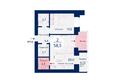 Микрорайон SCANDIS (Скандис), дом 2: Планировка двухкомнатной квартиры 58,5 кв.м