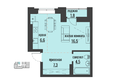 АКАДЕМИЯ, 1 корпус: 1-комнатная квартира студия 36 кв.м