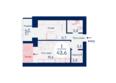 SCANDIS (Скандис), дом 3: Планировка однокомнатной квартиры 43,6 кв.м