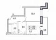 Первый Ленинский квартал, д. 1: 2-комнатная 37 кв.м
