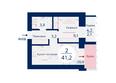 Жилой комплекс SCANDIS (Скандис), дом 11: Планировка двухкомнатной квартиры 41,2 кв.м