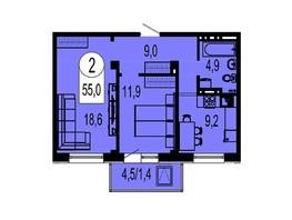 Продается 2-комнатная квартира ТИХИЕ ЗОРИ, дом 3 (Красстрой), 54.3  м², 4800000 рублей