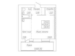 Продается 1-комнатная квартира ПЕТРА СУХОВА, 34, 40.45  м², 2427000 рублей