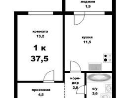 Продается 1-комнатная квартира Кутузова ул, 37.5  м², 2350000 рублей