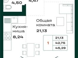 Продается 1-комнатная квартира ЛОКОМОТИВ, б/с 5 и 6, 45.29  м², 3555265 рублей
