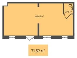 Торговая площадь, 71.59  м², монолит-кирпич