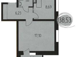 1-комнатная квартира, 38.5  м², 11/16 этаж