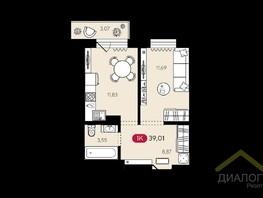 Продается 1-комнатная квартира НОВЫЙ РЕКОРД, дом 1, б/с 1, 39.01  м², 3459000 рублей
