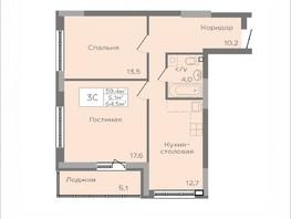 Продается 3-комнатная квартира ПАРКОВЫЙ, дом 1, 64.6  м², 4166700 рублей
