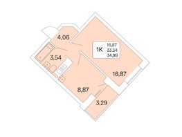 1-комнатная квартира, 34.99  м², 21/22 этаж