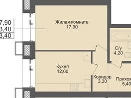 1-комнатная квартира, 43.6  м², 2/12 этаж