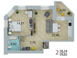 Продается 2-комнатная квартира ЕНИСЕЙСКИЙ, дом 1, 59.82  м², 5563260 рублей
