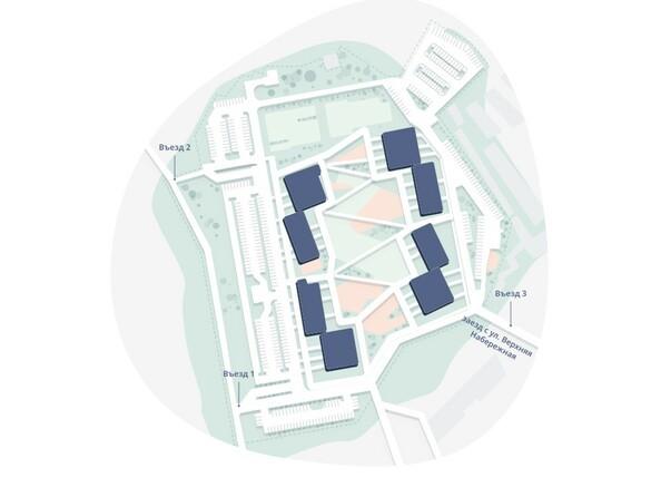 Схема расположения блок-секций ЖК «Сибиряков»