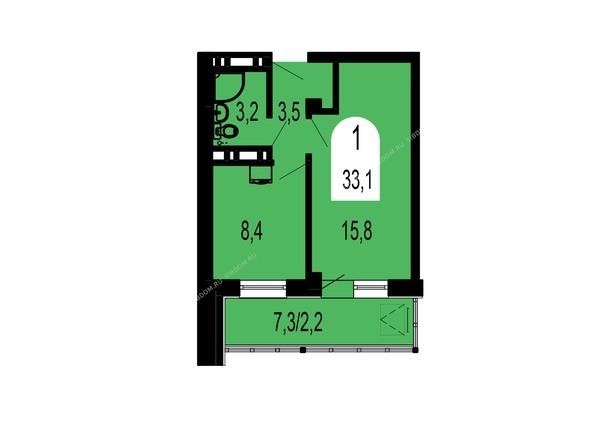 Планировки Жилой комплекс ТИХИЕ ЗОРИ, дом 1 (Красстрой) - Планировка однокомнатной квартиры 33,1 кв.м