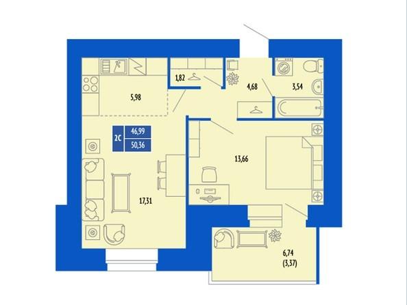 2-комнатная 49.28; 49.99; 50.36 кв.м