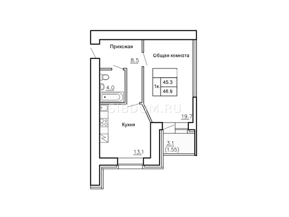 Планировки Жилой комплекс НОВАЯ ПРИСТАНЬ, 4 - Планировка однокомнатной квартиры 46,9 кв.м