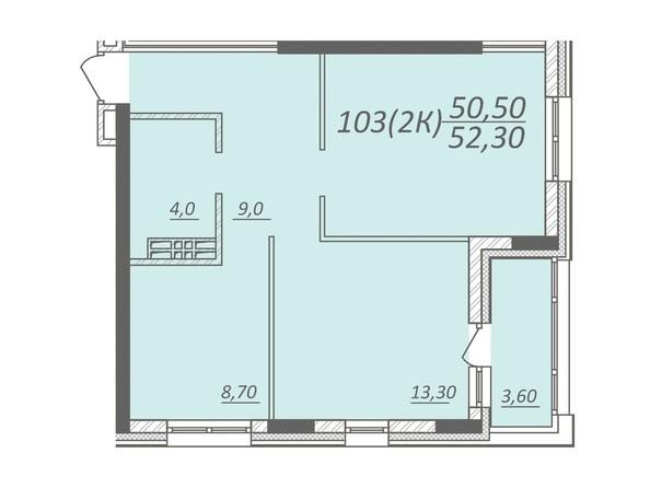 Планировка 2-комнатной квартиры 52,3 кв.м