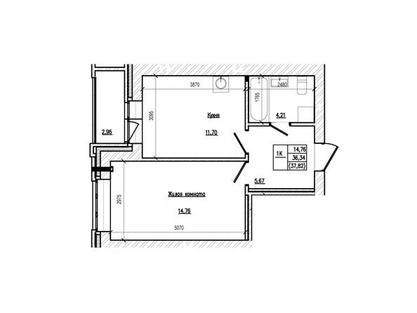 Планировка 1-комн 37,82 м²