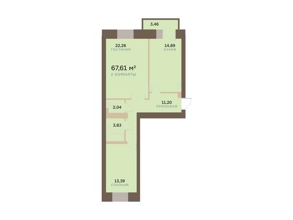 Планировка 2-комн 67,61 м²