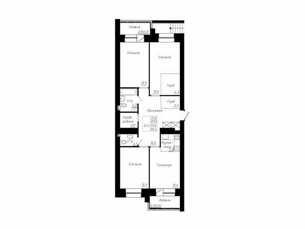 Планировка 4-комн 91,6, 95,4 м²