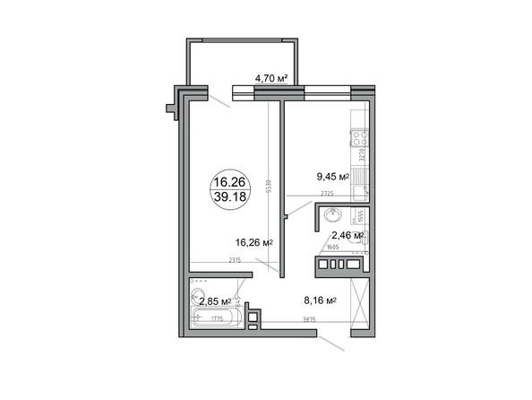 Планировка 1-комн 39,18 м²