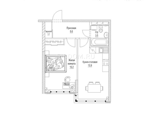 Планировка 1-комн 43,2 м²
