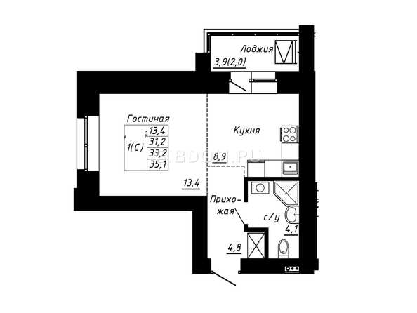 Планировка 1-комн 33,2, 35,1 м²
