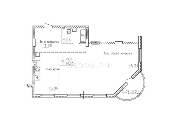 Планировки Жилой комплекс СОБРАНИЕ - Планировка однокомнатной квартиры 80,63 кв.м