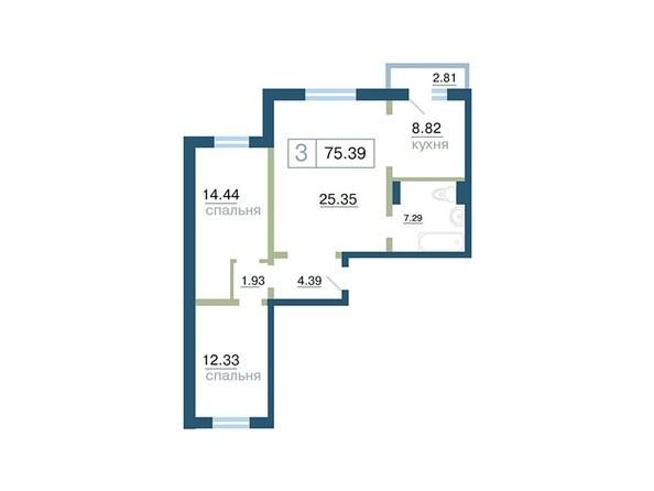 Планировка 3-комн 75,39 м²