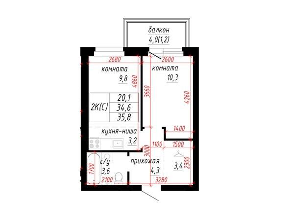 2-комнатная 35.8; 34.6 кв.м