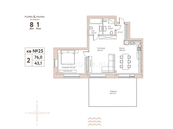 Планировки Жилой комплекс Эко-квартал Flora&Fauna (Флора и Фауна), блок В - 2-комнатная 76 кв.м