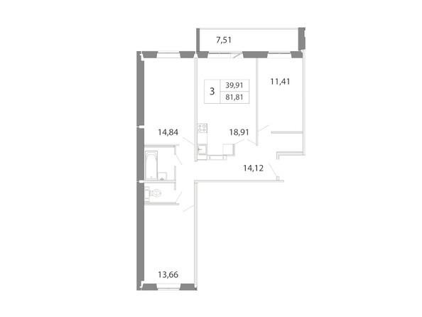 Планировка 3-комн 81,81 м²
