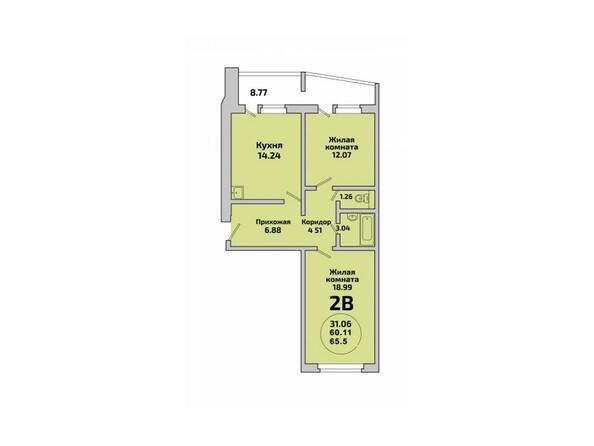 Планировки Жилой комплекс ПРИОЗЕРНЫЙ, дом 1 - Планировка двухкомнатной квартиры 60,11 кв.м