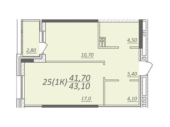 Планировка 1-комнатной квартиры 43,1 кв.м