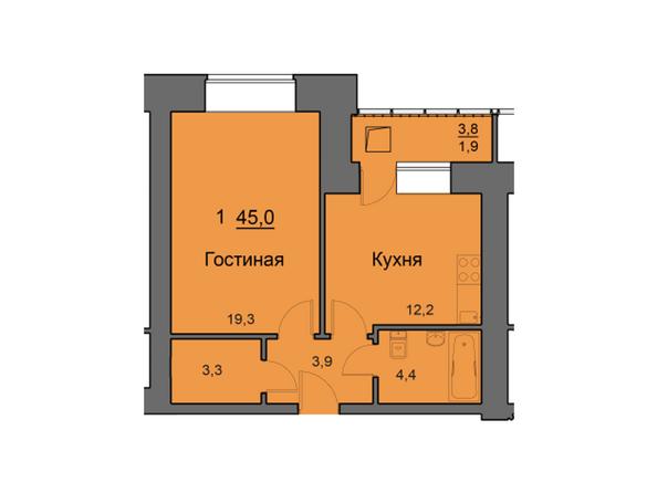 Планировки Жилой комплекс SKY SEVEN, б/с 7, 2 оч - Планировка однокомнатной квартиры 45 кв.м