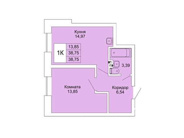 Планировки Жилой комплекс РАСЦВЕТАЙ НА МАРКСА, дом 1 - 1-комнатная 38,75 кв.м