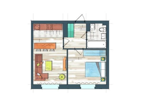 Планировки Жилой комплекс ПРЕОБРАЖЕНСКИЙ, дом 22, этап 2 - Планировка однокомнатной квартиры 45,4 кв.м