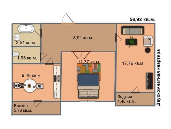 Планировка 2-комн 56,91, 56,98 м²
