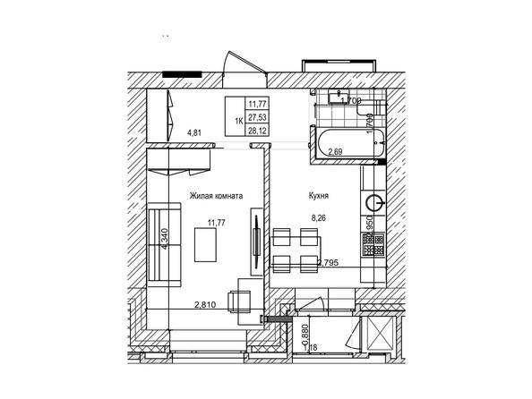 Планировка 1-комн 27,5 м²