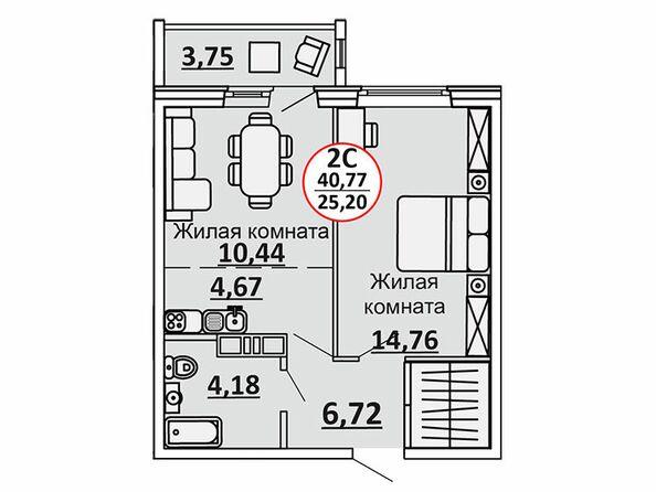 Планировки Жилой комплекс ВЕСЕННИЙ, Заречная 39, дом 2/4 - 2-комнатная 42,65 кв.м