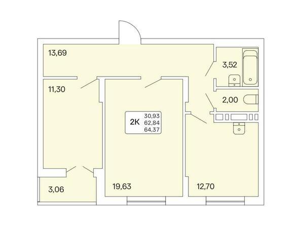 2-комнатная 64,37 кв.м