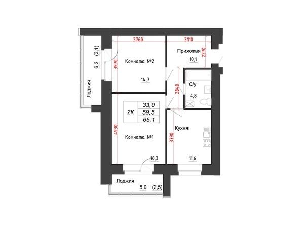 Планировки Жилой комплекс КРЫЛЬЯ, дом 12 - 2-комнатная 65,1 кв.м