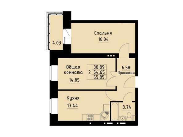 Планировка 2-комн 55,85 м²