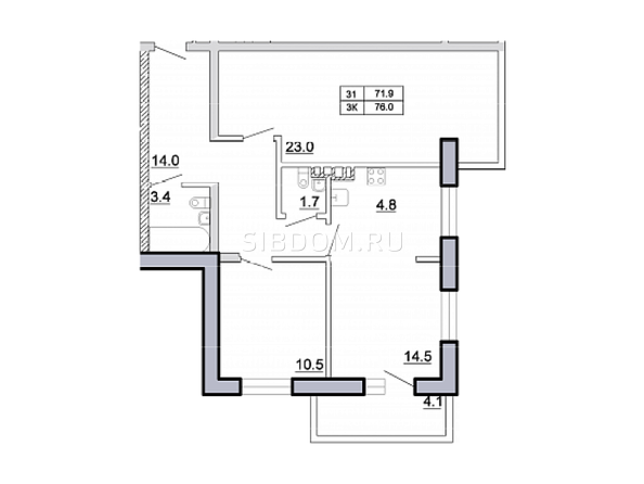 Планировка 3-комн 76 м²