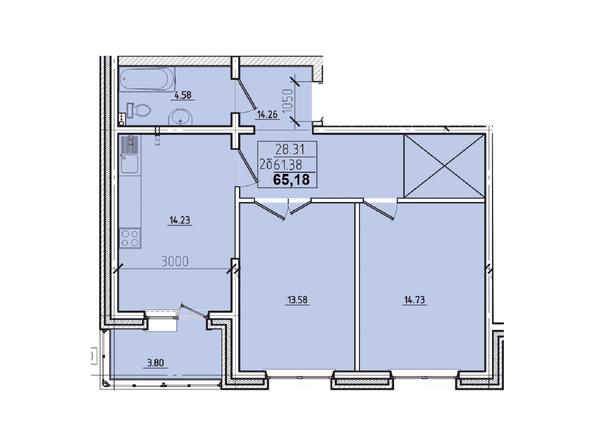 2-комнатная 65,18 кв.м.