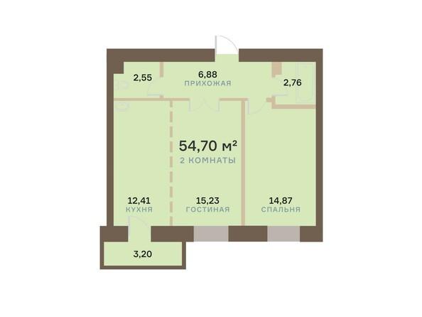 Планировки Жилой комплекс АЛЕКСАНДРОВСКИЙ, дом 1 - 2-комнатная 54,70 кв.м